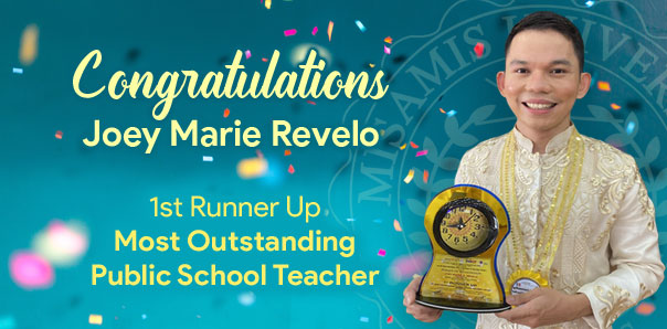 MU Alumnus Joey Marie Revelo Bags 1<sup>st</sup> Runner up for 'Most Outstanding Public School Teacher'