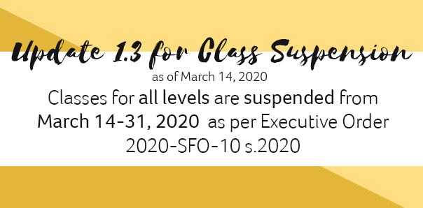 UPDATE 1.3 FOR CLASS SUSPENSION (as of March 14, 2020)