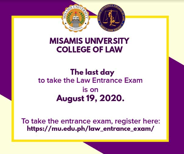UPDATED COLLEGE OF LAW ENTRANCE EXAM SCHEDULE