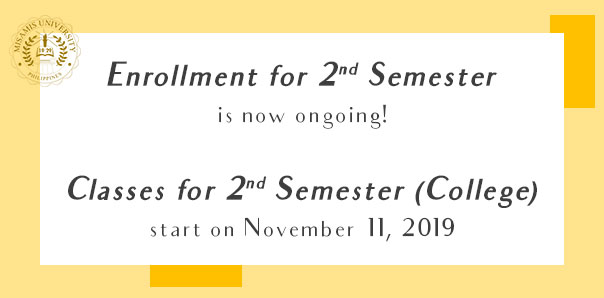 Enrollment for 2nd Semester is now going!