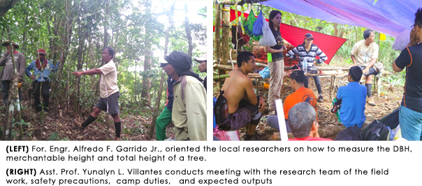 LEFT For. Engr. Alfredo F. Garrido Jr., oriented the local researchers on how to measure the DBH, merchantable height and total height of a tree, RIGHT Asst. Prof. Yunalyn L. Villantes conducts meeting with the research team of the field  work, safety precautions,  camp duties,   and expected outputs