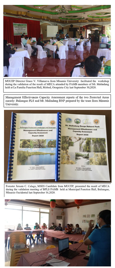 Misamis University Spearheads the 2020 Management Effectiveness and Capacity Assessment (MECA) of the Two Protected Areas in Misamis Occidental