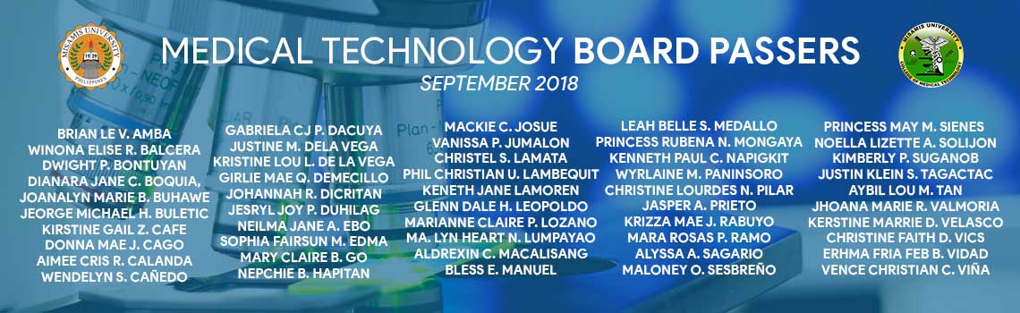 Misamis University Medtech Board Passers September 2018